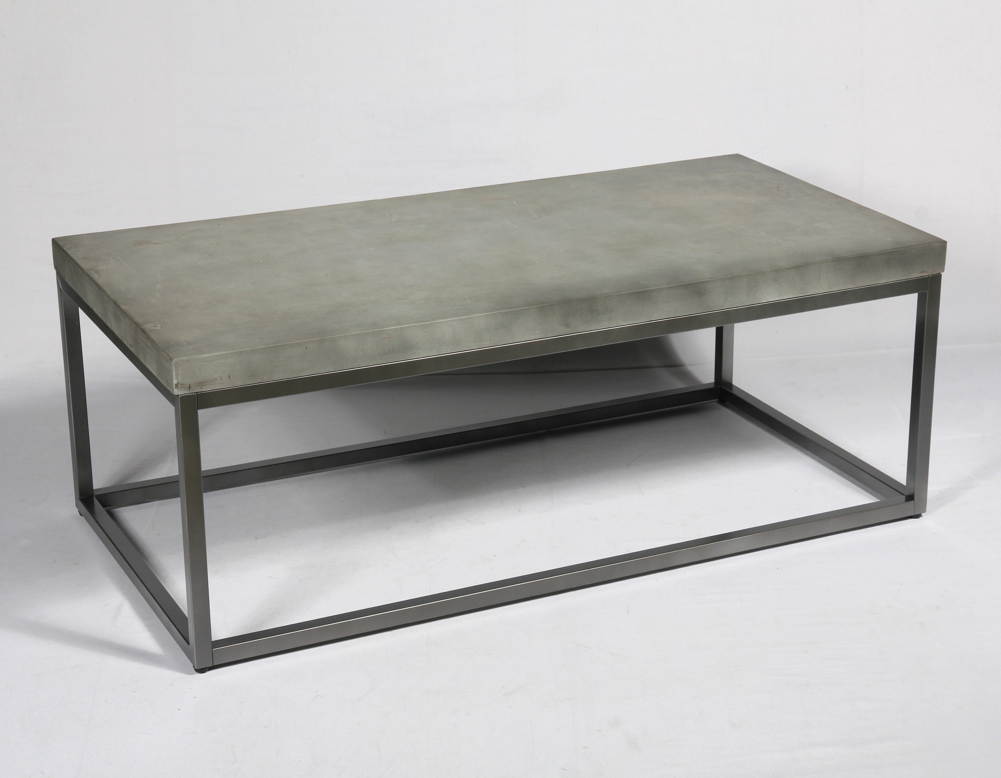 emerald home onyx aged concrete and brushed nickel 48 coffee table with rustic concrete look top and modern metal frame walmart com