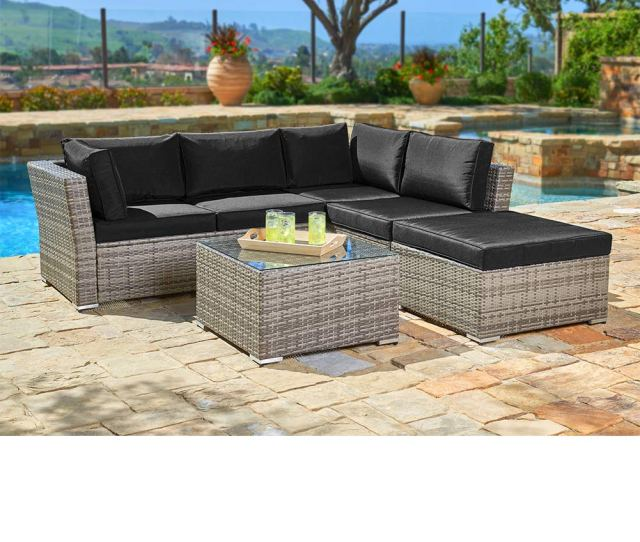 Suncrown Outdoor Sectional Sofa 4 Piece Set All Weather Grey Checkered Wicker
