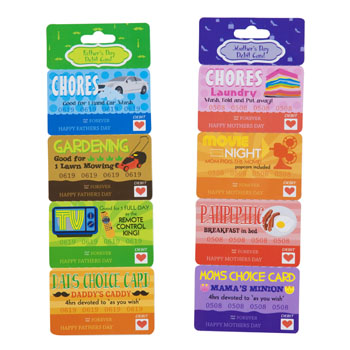 DEBIT/COUPON CARD MOTHER/FATHERS DAY 2AST W/4 DETACHABLE COUPONS, Case Pack of 48