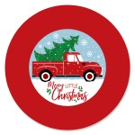 Merry Little Christmas Tree Red Truck Christmas Party Circle Sticker Labels 24 Count Walmart Com Walmart Com