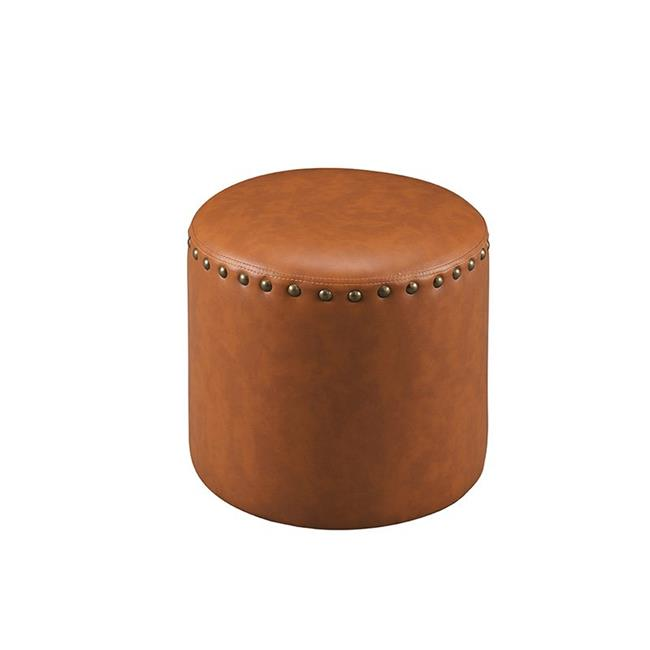 kb 3217 br faux leather round ottoman brown