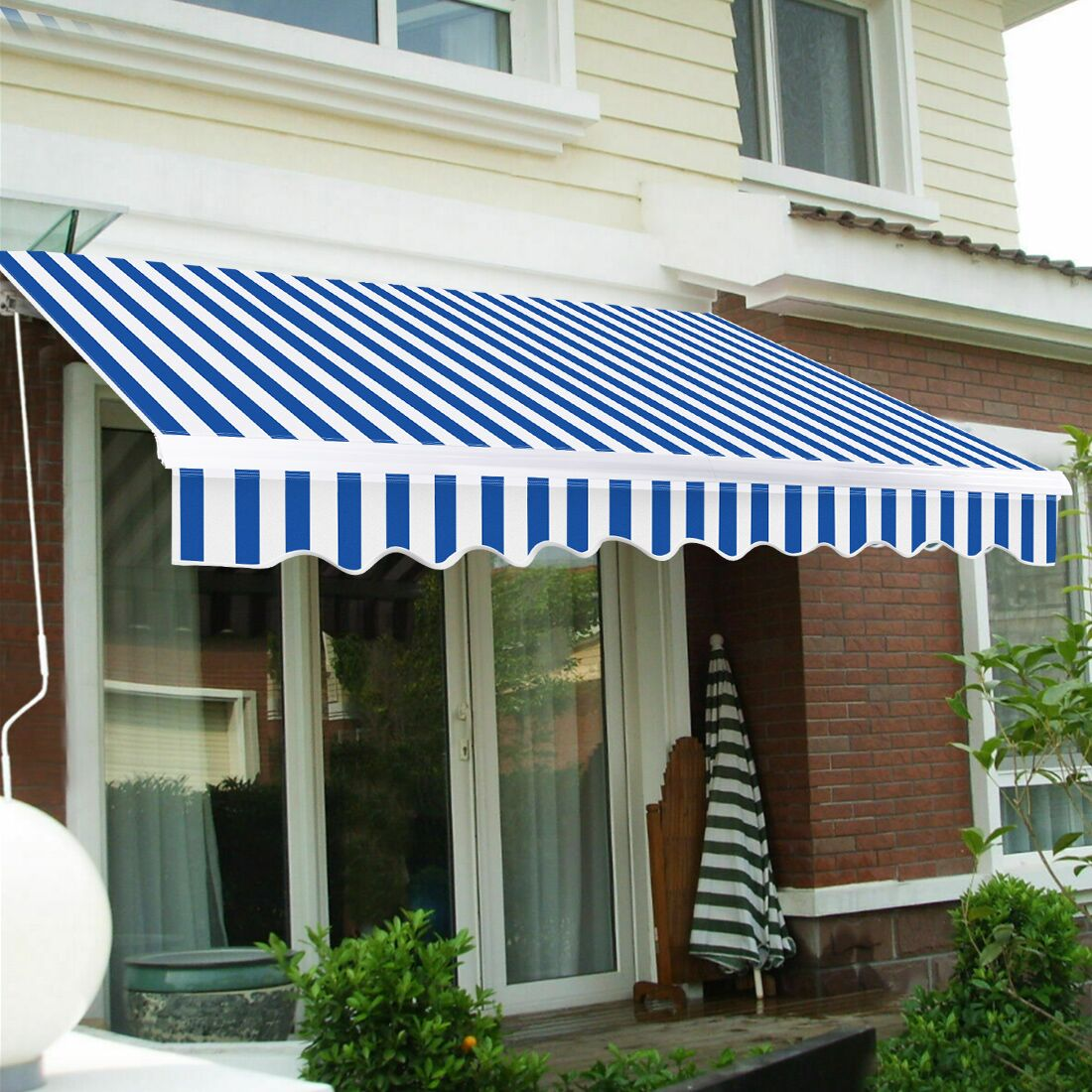 outdoor manual retractable patio awning 8ft x 6 5ft blue white