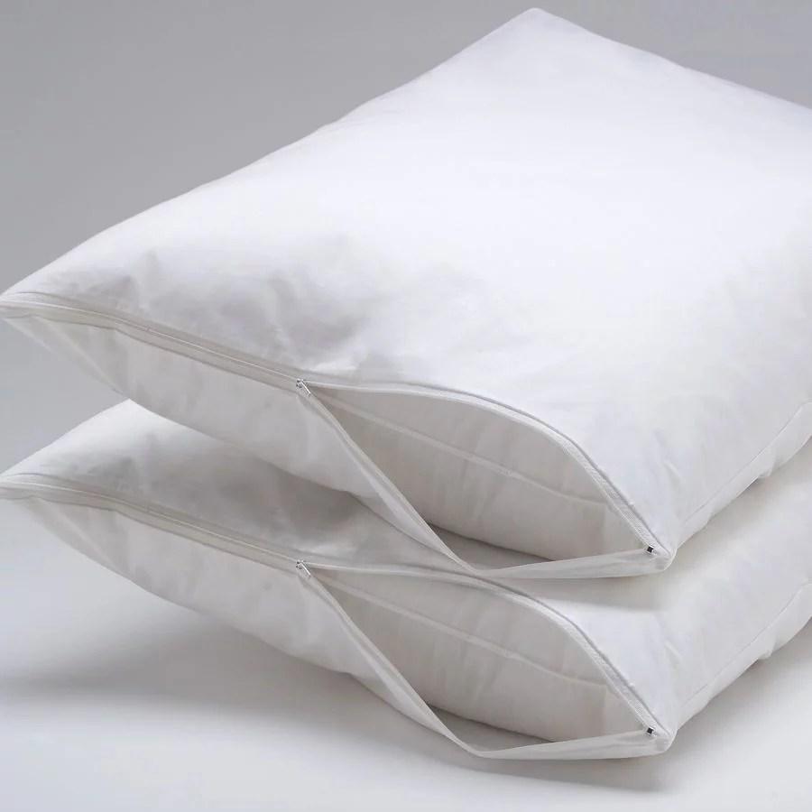 ultra soft allergy hypoallergenic 100 waterproof zipper pillow protector encasement bed bug dust mite proof set of 2 full queen size walmart com