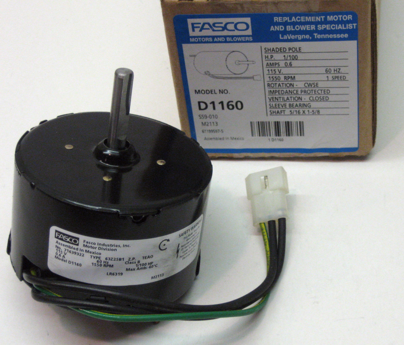 d1160 fasco bathroom fan vent motor for 7163 2593 655 661 663 655n 668 763 768 walmart com