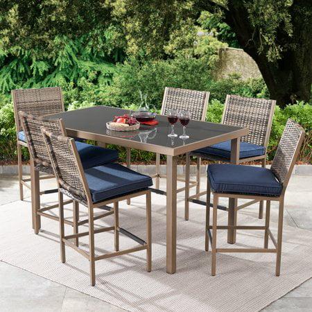 better homes gardens gardenvale 7 piece outdoor bar height patio dining set