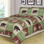 Full Queen Size Log Cabin Bear Quilt Set Country Rustic Lodge Cottage Bedspread Coverlet Walmart Com Walmart Com