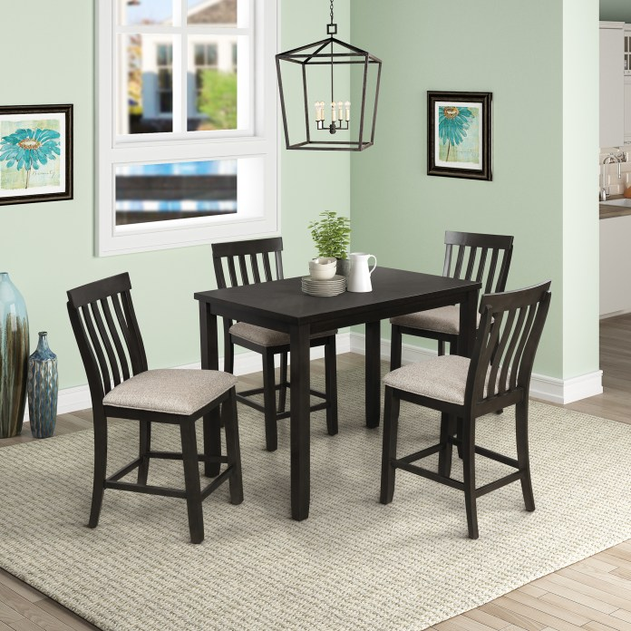 5 Piece Pub Table Set Btmway Wood Counter Height Dining Room Table And Chairs Set Contemporary Bar Table Set For 4 Kitchen Table Set With 4 Stools Space Saving Breakfast Nook Dining Table Set A57