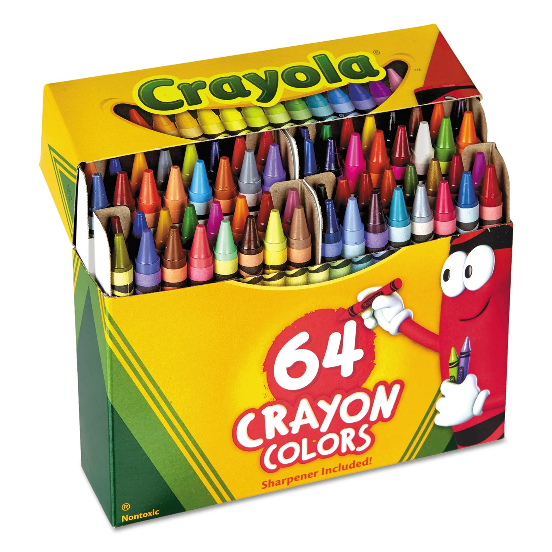 Crayola Crayons Box With Built In Sharpener 4 Sizes 64