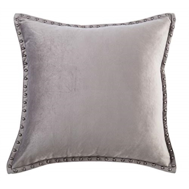 gray throw pillow cover modern metallic rivet velvet texture cushion cover square 20x20 throw pillow case