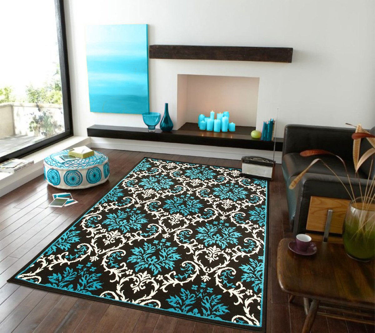 We may earn commission on. Large Contemporary Area Rugs For Living Room Blue & Black ...