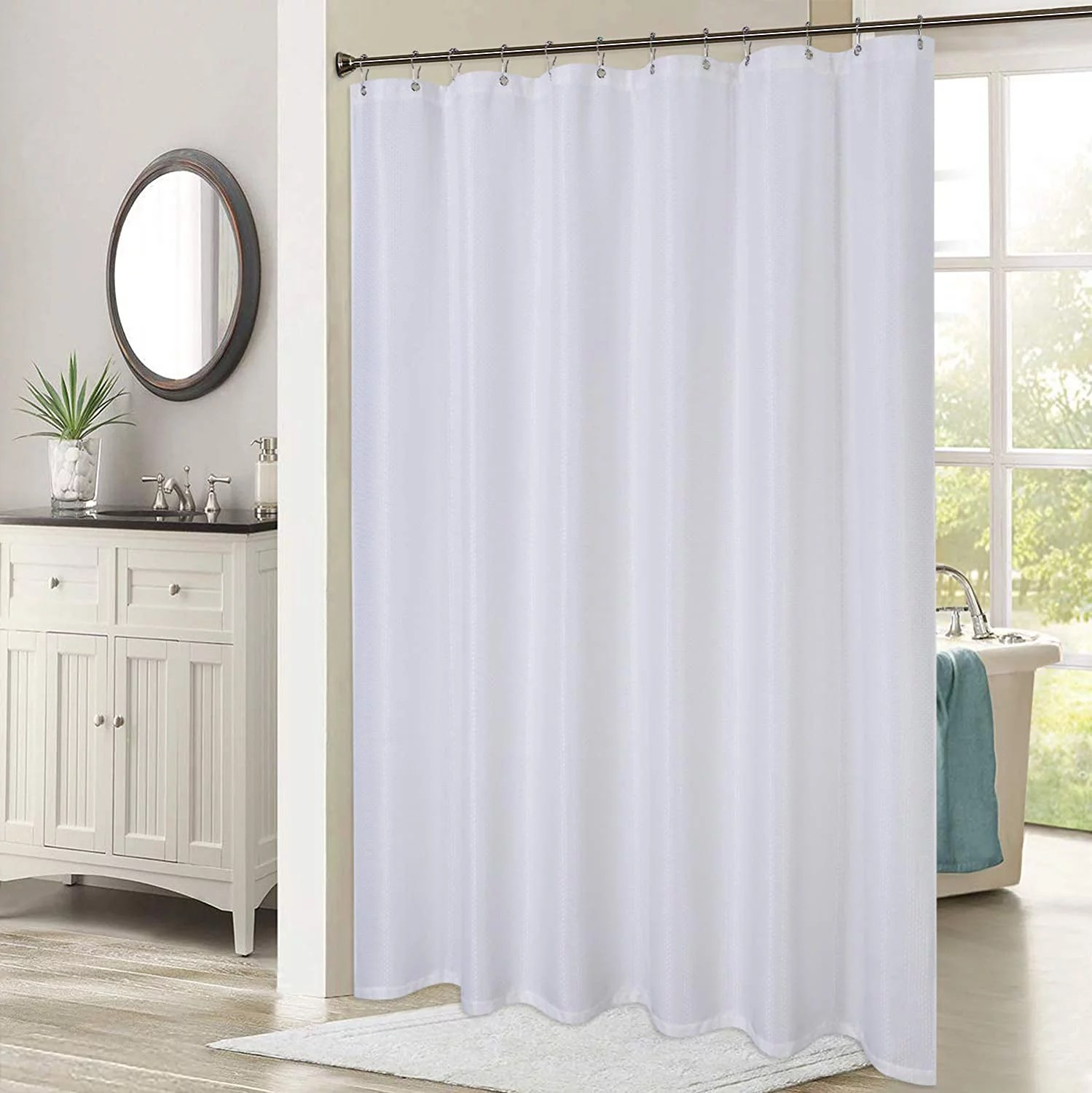 caromio shower curtains 78 inches long waffle weave fabric shower curtain heavy duty thick extra long for bathroom 72 x 78 white