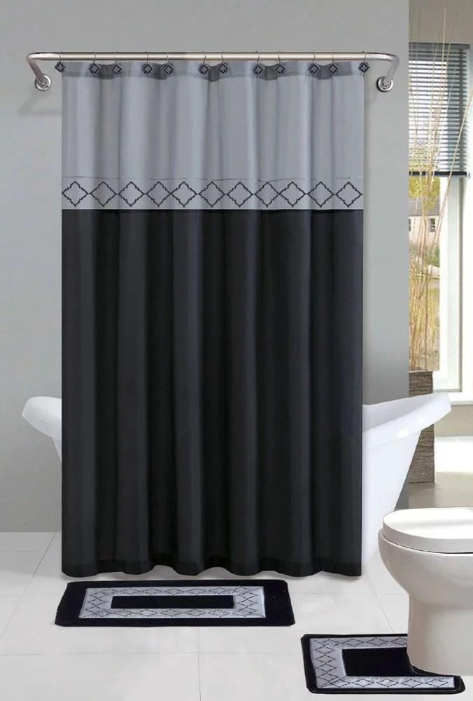 kadir black silver diamond 15 piece bathroom accessory set 2 bath mats shower curtain 12 fabric covered rings