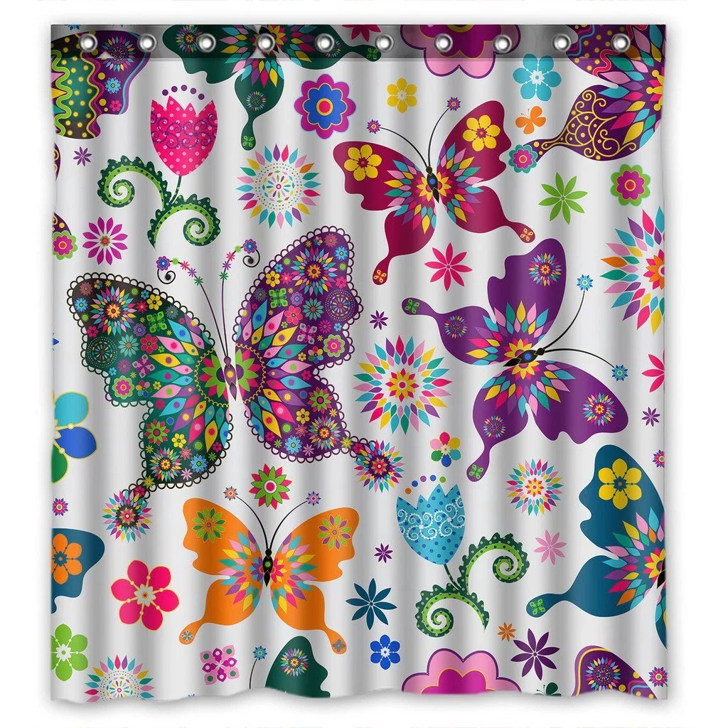 gckg beatiful flying butterflies bathroom shower curtain shower rings included 100 polyester waterproof shower curtain 66x72 inches