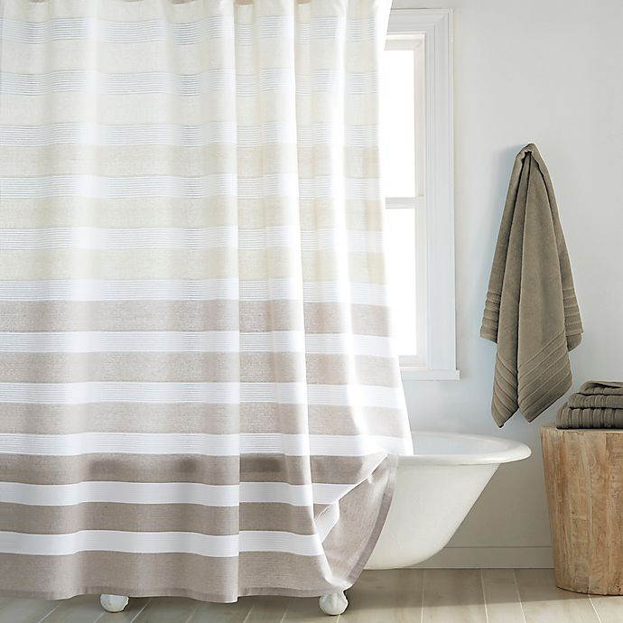 dkny highline 72 inch x 84 inch stripe shower curtain in taupe