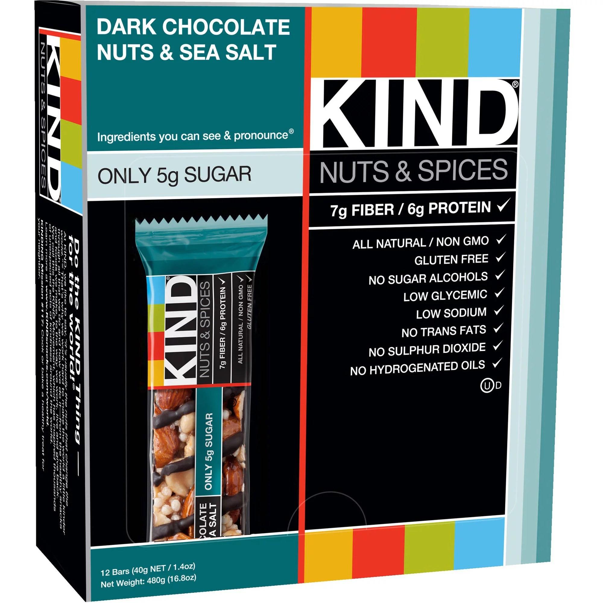 Kind Fruit and Nut Bars Dark Chocolate Nuts Sea Salt 1