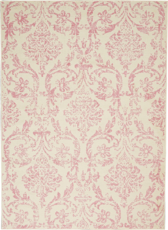 walmart bliss farmhouse damask ivory pink area rug on farmhouse colors for bath mats walmart id=47382