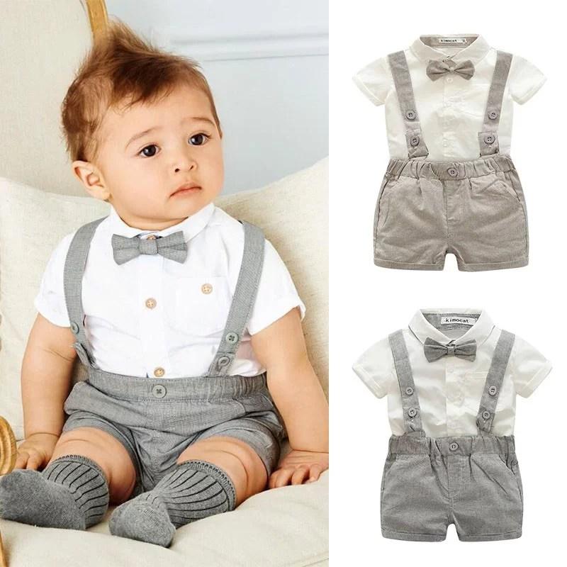 kacakid baby boy child toddler gentleman suit bow tie suspender trousers pants suit suspenders style short sleeve shirt short 2pcs set