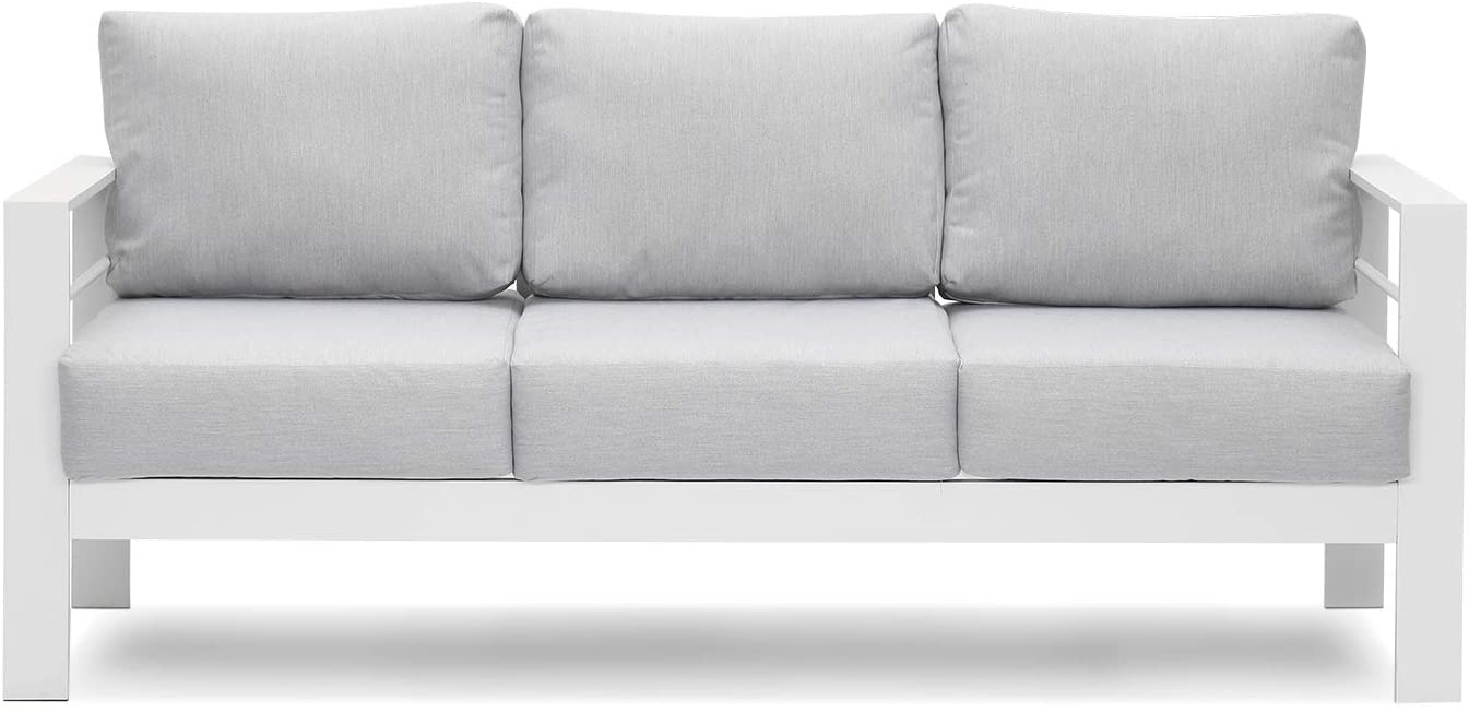 patio furniture aluminum sofa all weather outdoor 3 seats couch white metal chair with light grey cushions