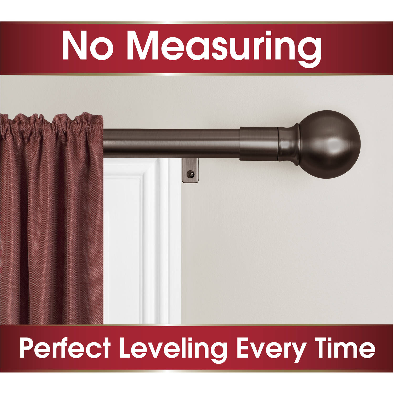 smart rods no measuring easy install drapery window curtain rod ball finial walmart com
