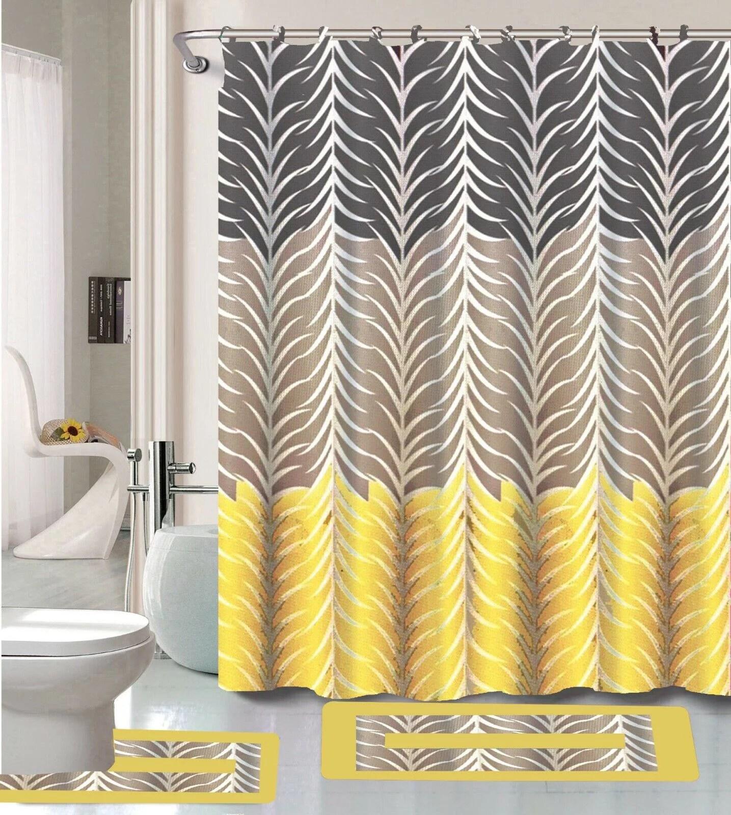 sonia yellow gray multi tone 15 piece bathroom accessory set 2 bath mats shower curtain 12 fabric covered rings