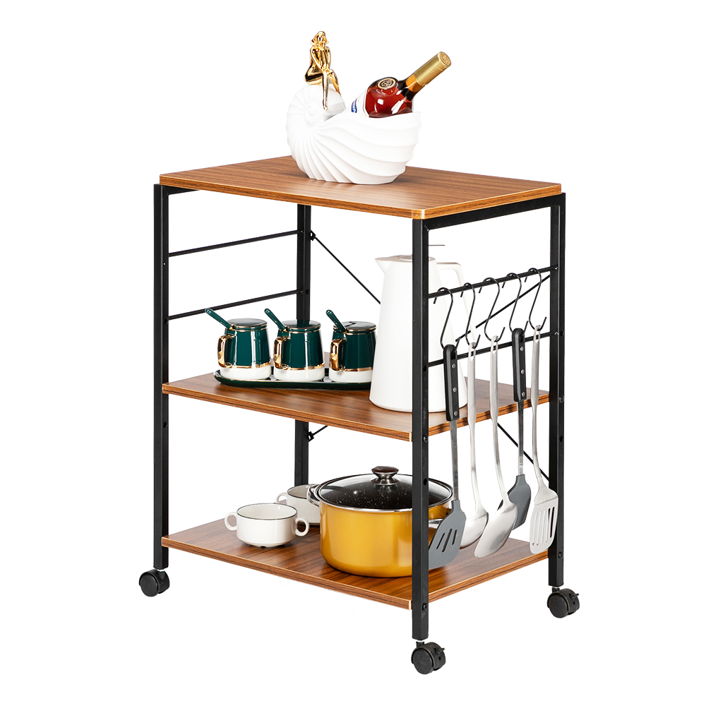 3 tier kitchen microwave cart metal frame bakers racks for kitchens with storage multipurpose vintage rolling bakers rack shelves with 10 hooks