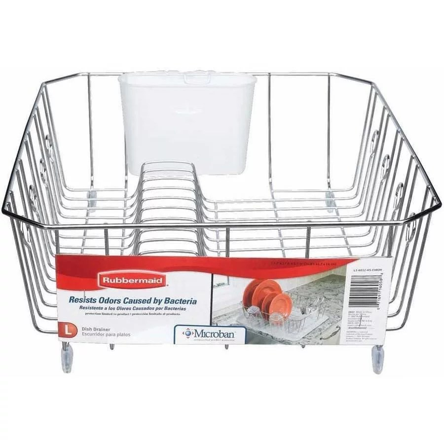 rubbermaid wire dish rack in chrome large walmart com