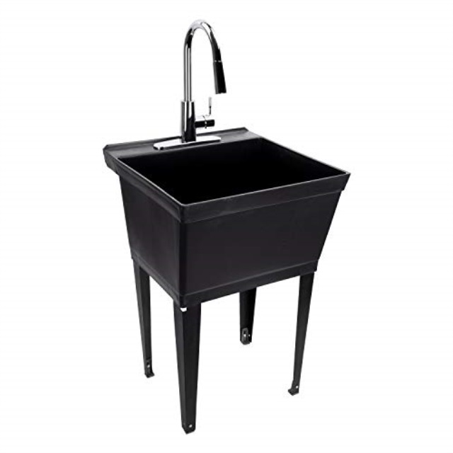 black utility sink laundry tub with high arc chrome kitchen faucet by maya pull down sprayer spout heavy duty slop sinks for washing room basement