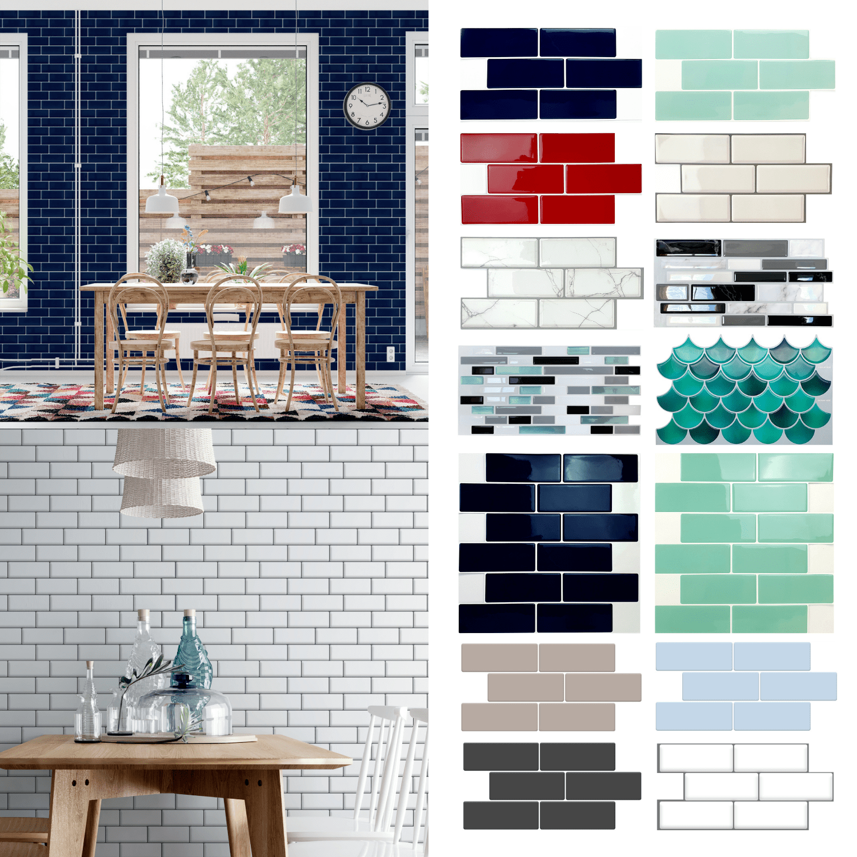walplus 12 x 12 6 sheets peel and stick tile backsplash for kitchen bathroom decor kitchen decor navy blue glossy