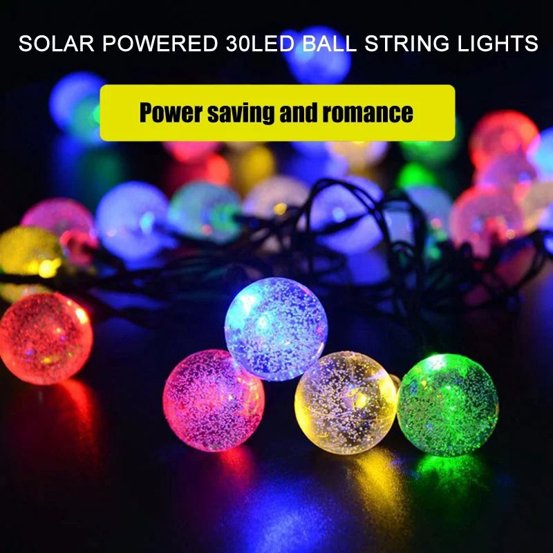 herchr 30 led outdoor string lights solar powered patio lights outside hanging globe garden easter decorative camping bubble lights night light led