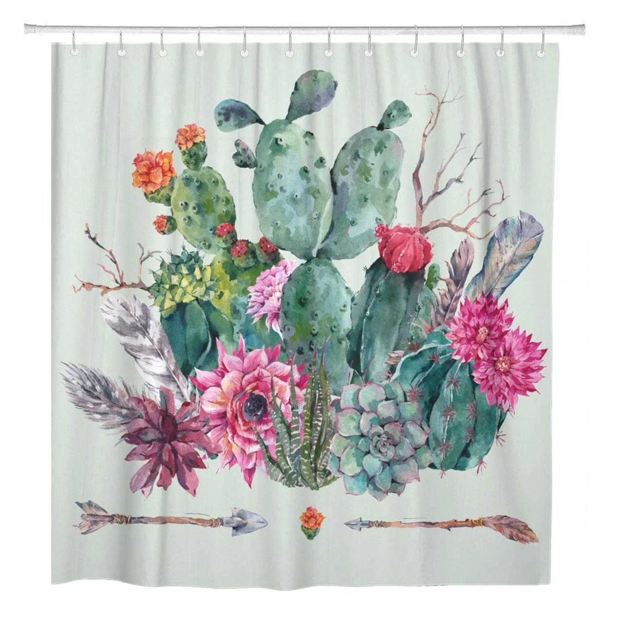 cynlon exotic natural vintage watercolor bouquet in boho cactus succulent bathroom bathroom decor bath shower curtain 66x72 inch