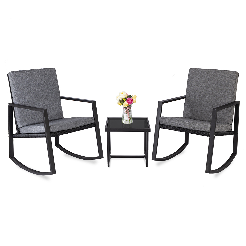 3 pcs rocking chairs set outdoor patio furniture with glass coffee table black