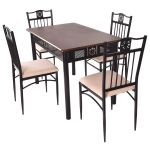 Costway 5 Piece Dining Set Wood Metal Table And 4 Chairs Kitchen Breakfast Furniture Walmart Com Walmart Com