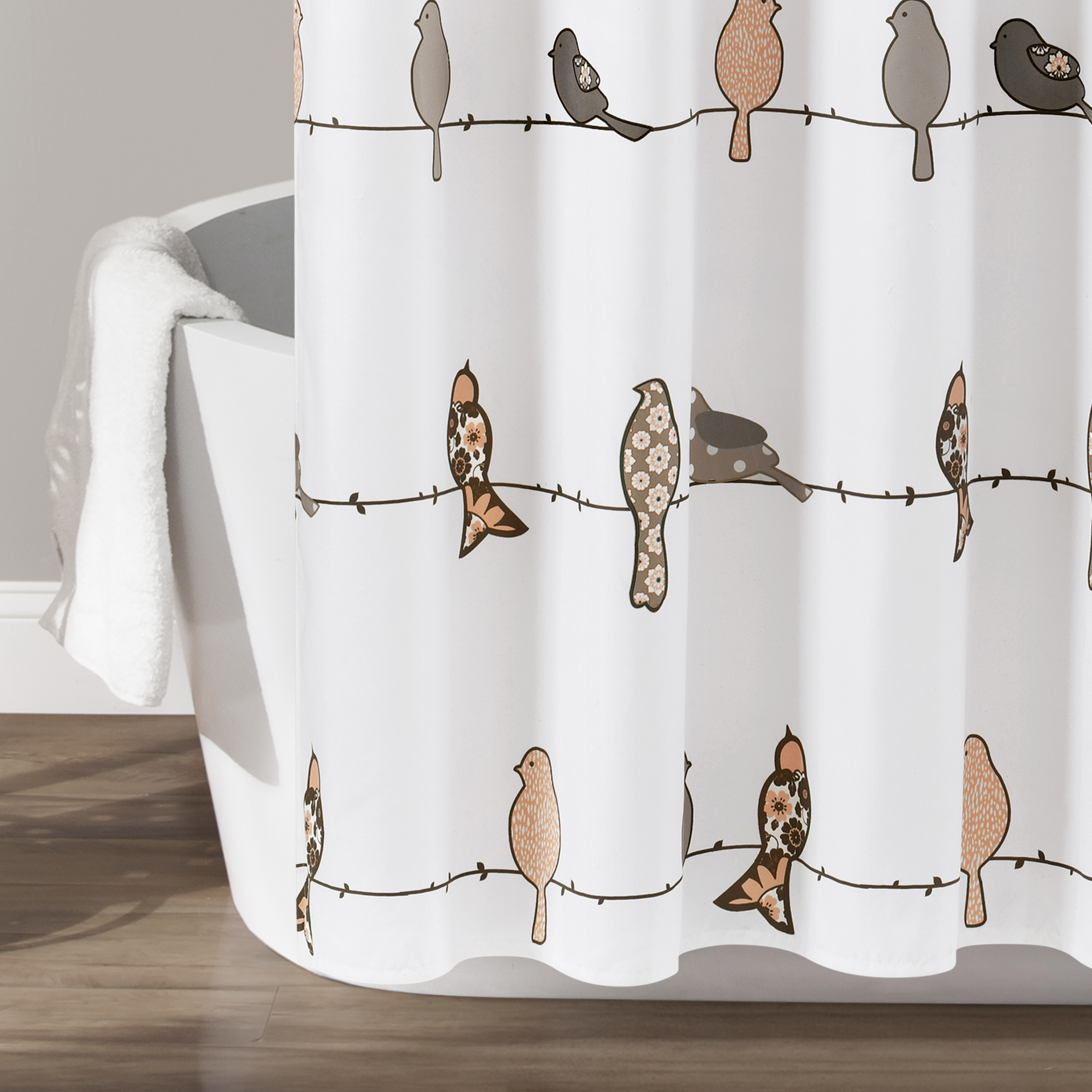 lush decor rowley birds animal print polyester shower curtain 72x72 yellow gray single