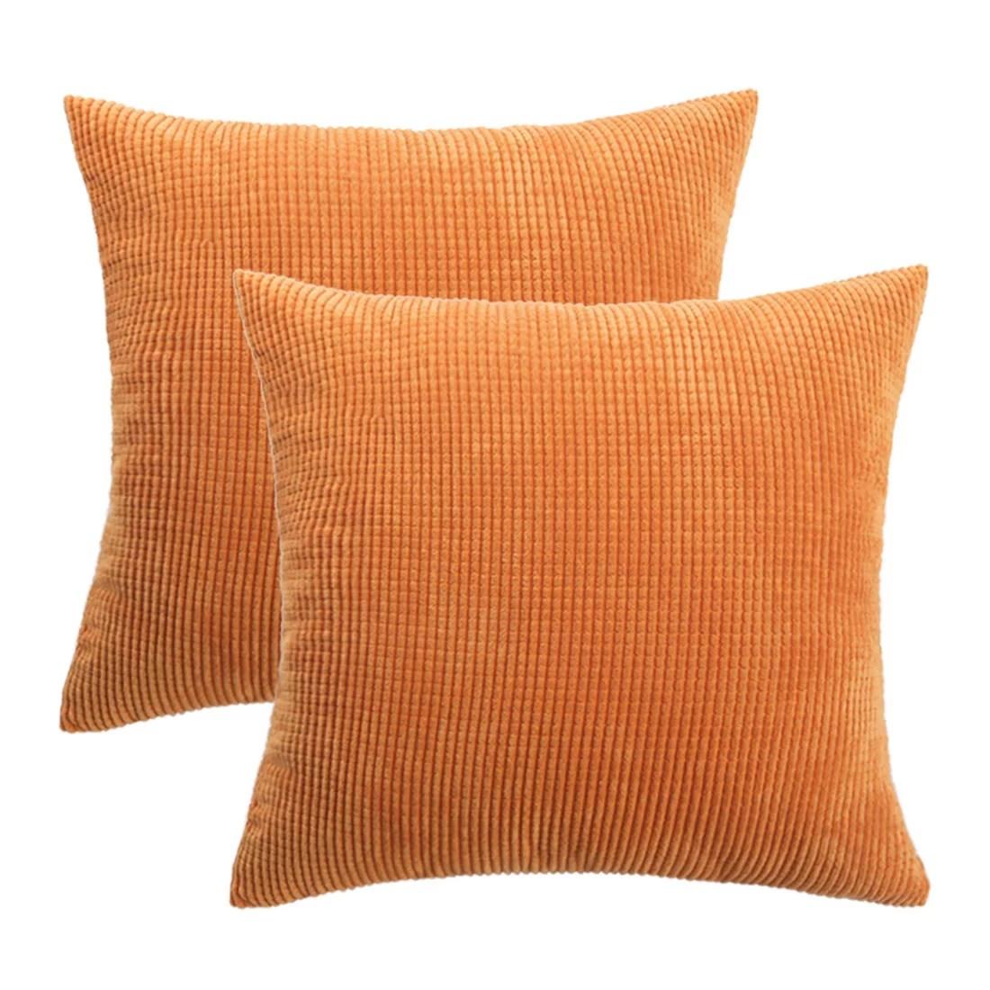cushion covers stripe decoration throw pillow case 26 x 26 inch orange 2pcs
