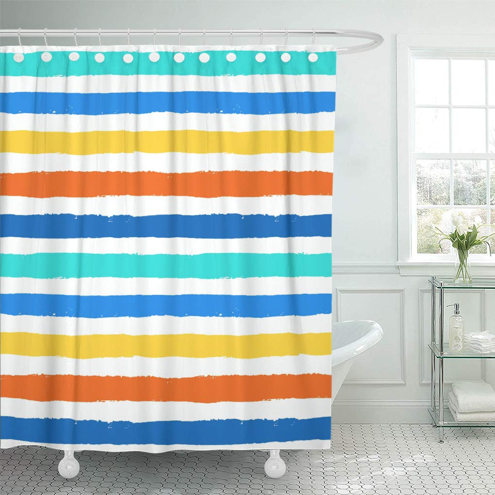 ksadk unusual brush strokes geometric distress white orange blue and yellow stripes shower curtain bath curtain 60x72 inch