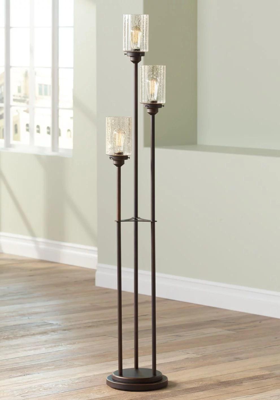 franklin iron works vintage floor lamp 3 light oiled bronze amber seedy glass dimmable led edison bulb for living room bedroom