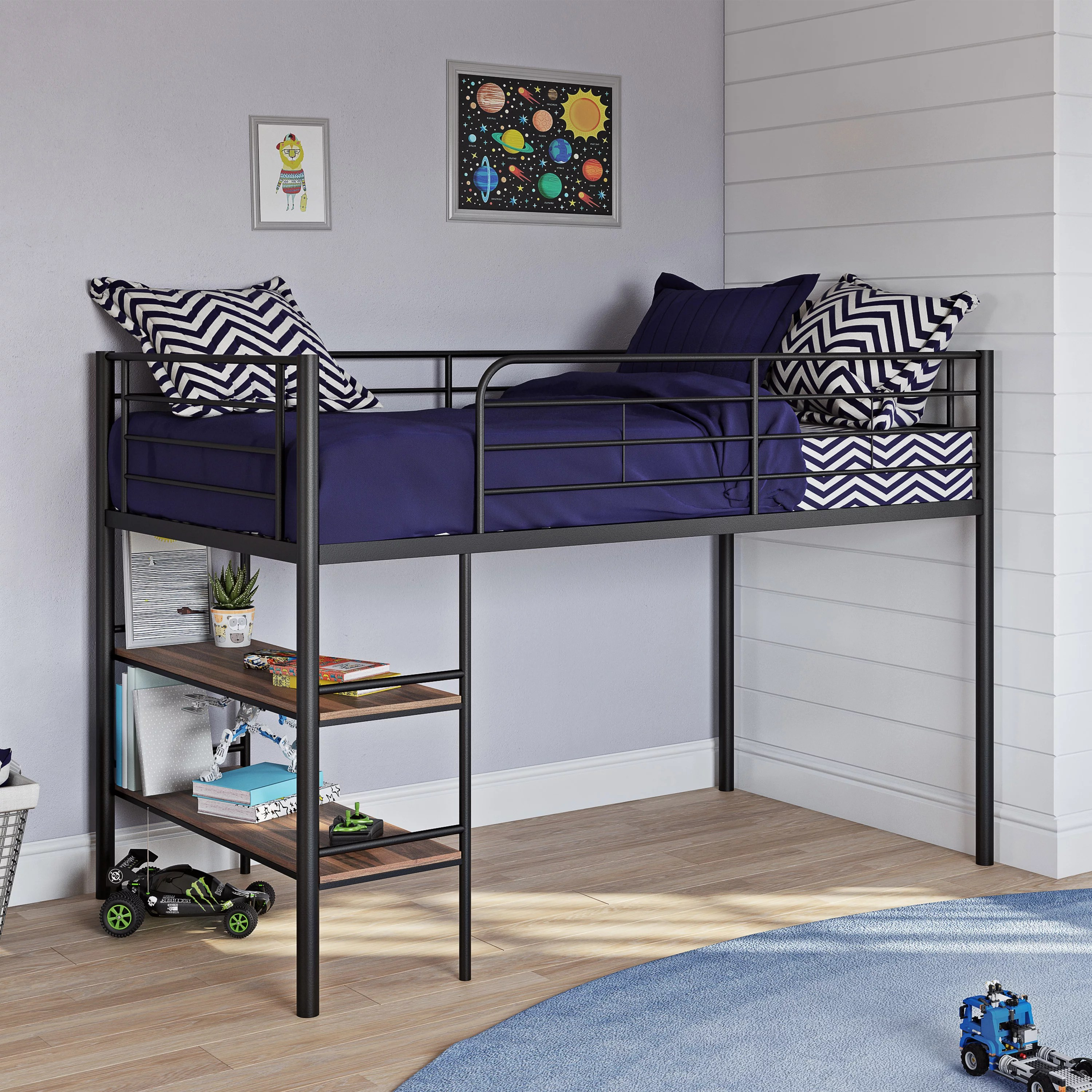 your zone beckett kids metal twin loft bed with open book shelf multiple finishes