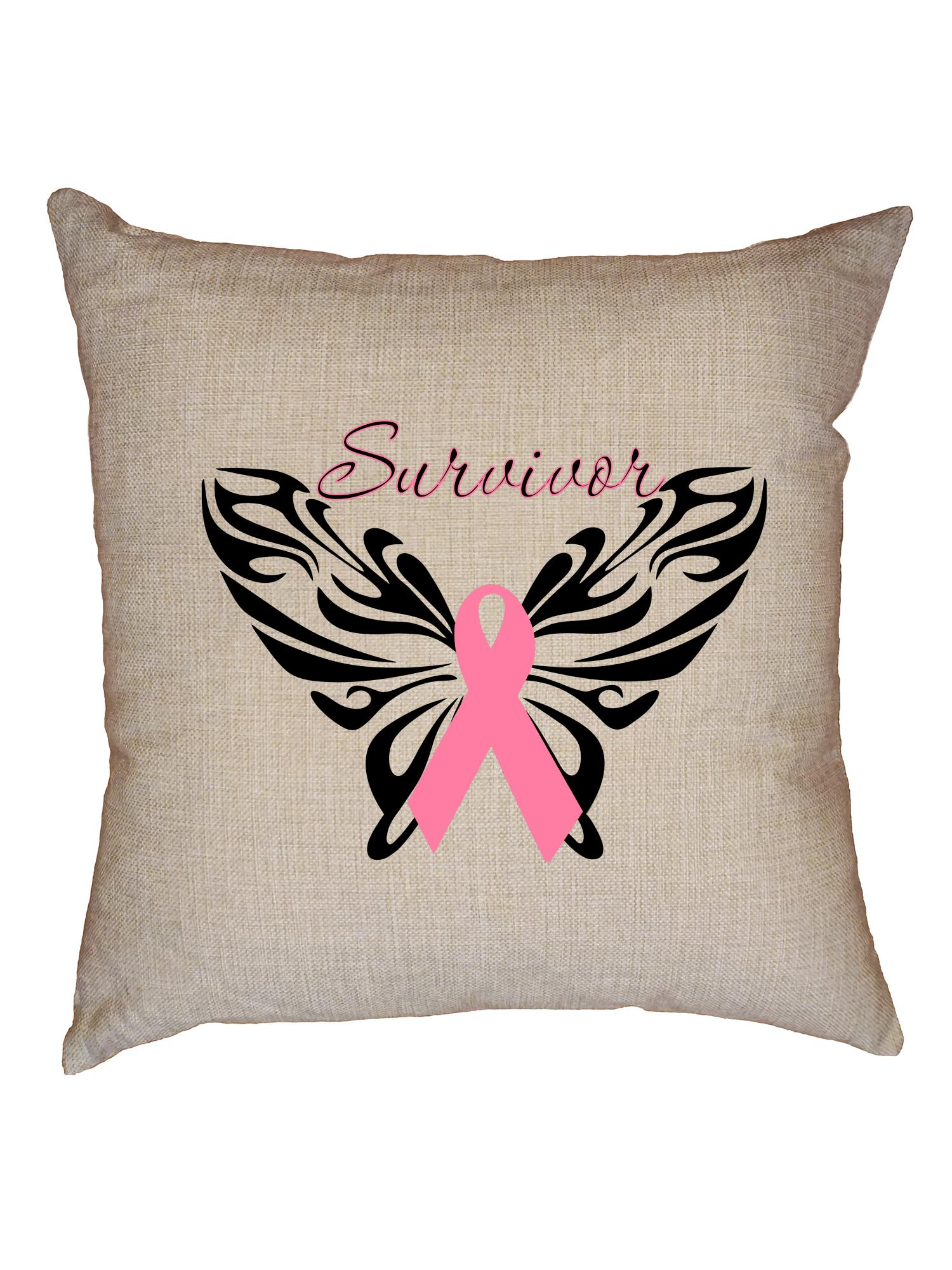 breast cancer survivor butterfly pink ribbon decorative linen throw cushion pillow case with insert