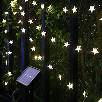 xingpold solar star string lights outdoor waterproof solar powered christmas twinkle fairy string lights 23ft 50led 8modes solar lights outdoor string