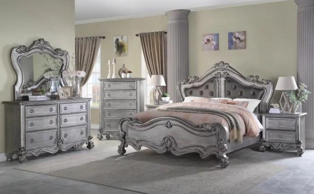 Gray Finish Wood Queen Bedroom Set 6Pcs Transitional ...