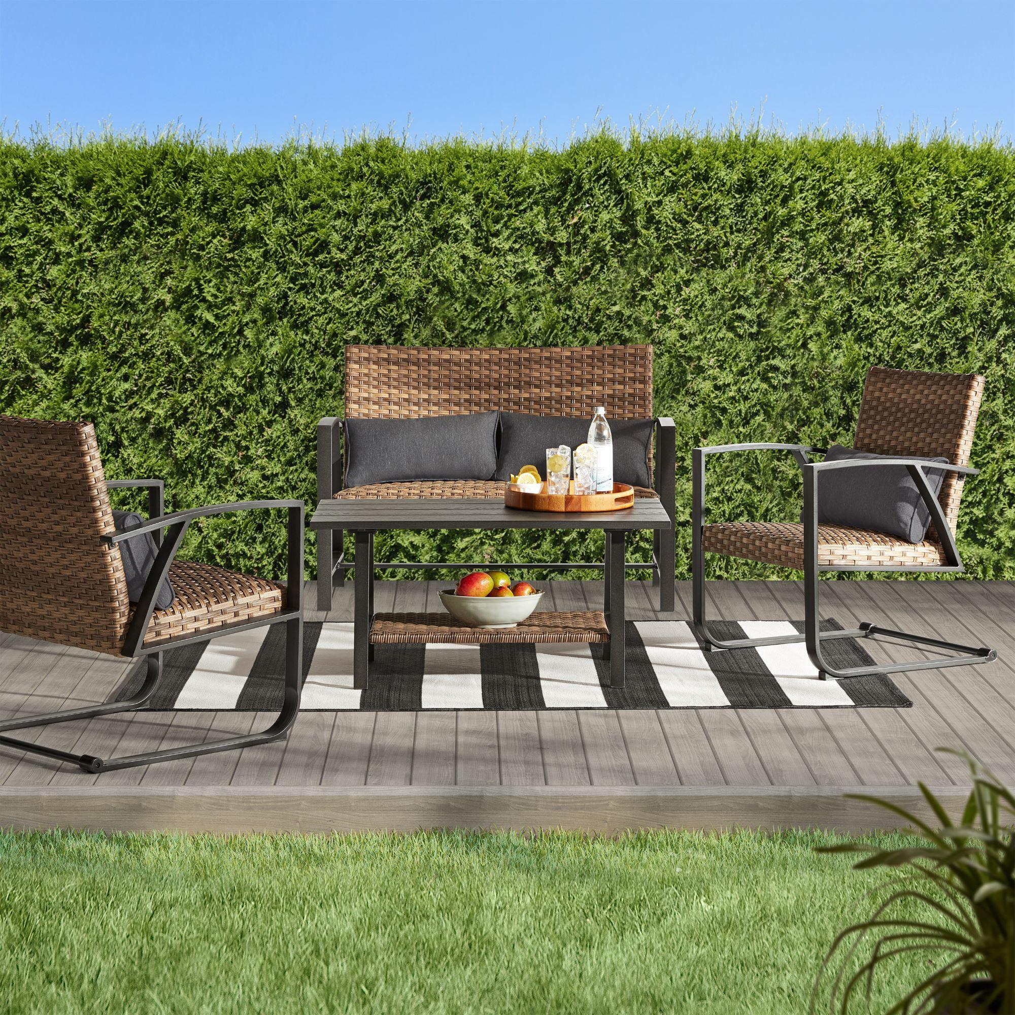 better homes gardens porter outdoor patio padded wicker 4 piece conversation set walmart com