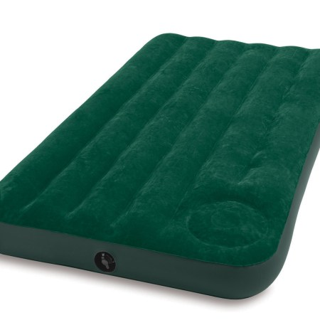 Intex Twin Inflatable Downy Outdoor Camping Air Mattress With Built In Foot Pump