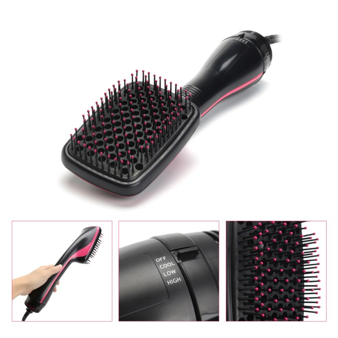 one-step hair dryer & styler, ionic hot air hair straightener brush, negative ion generator for all hair types
