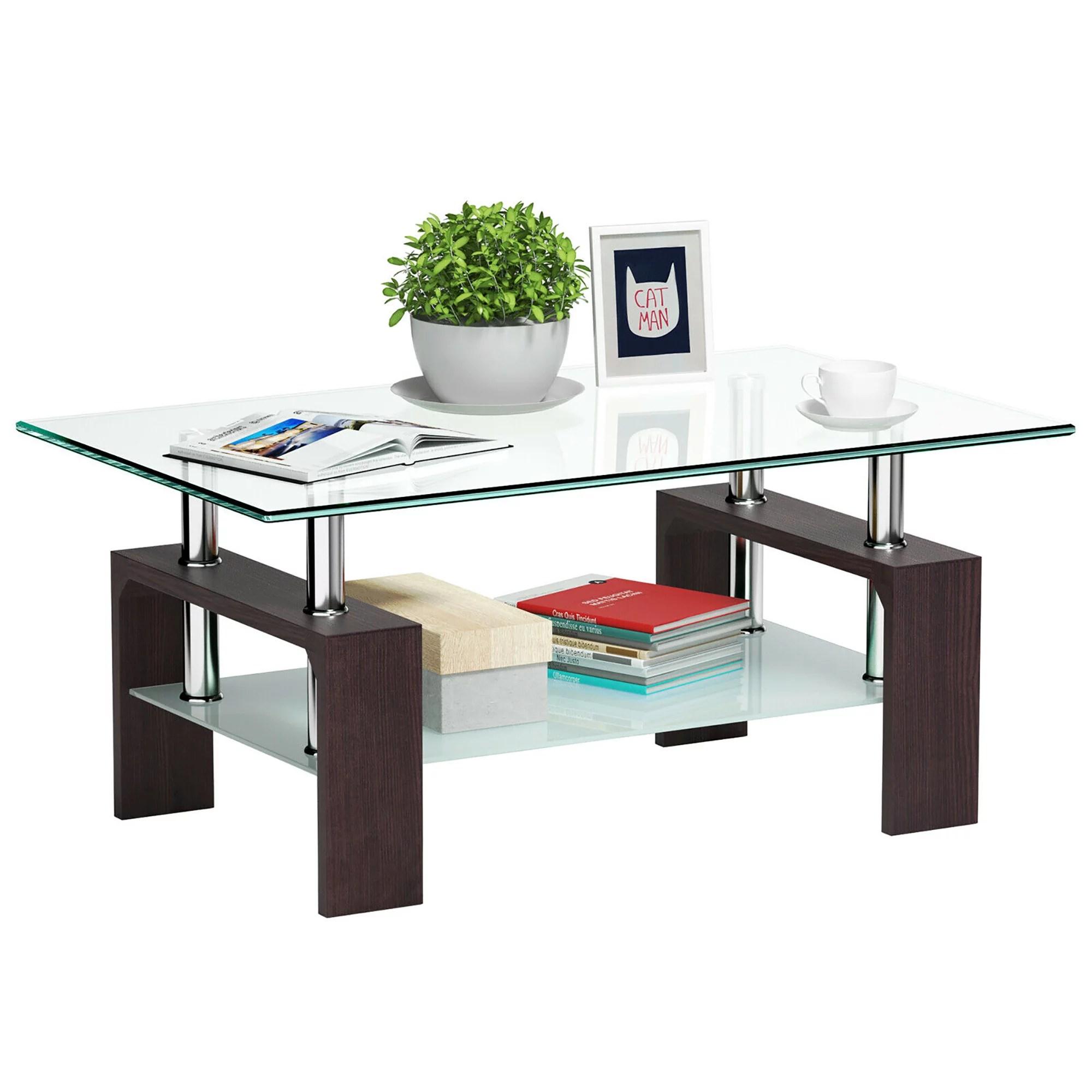costway rectangular wood tempered glass top coffee table w storage shelf