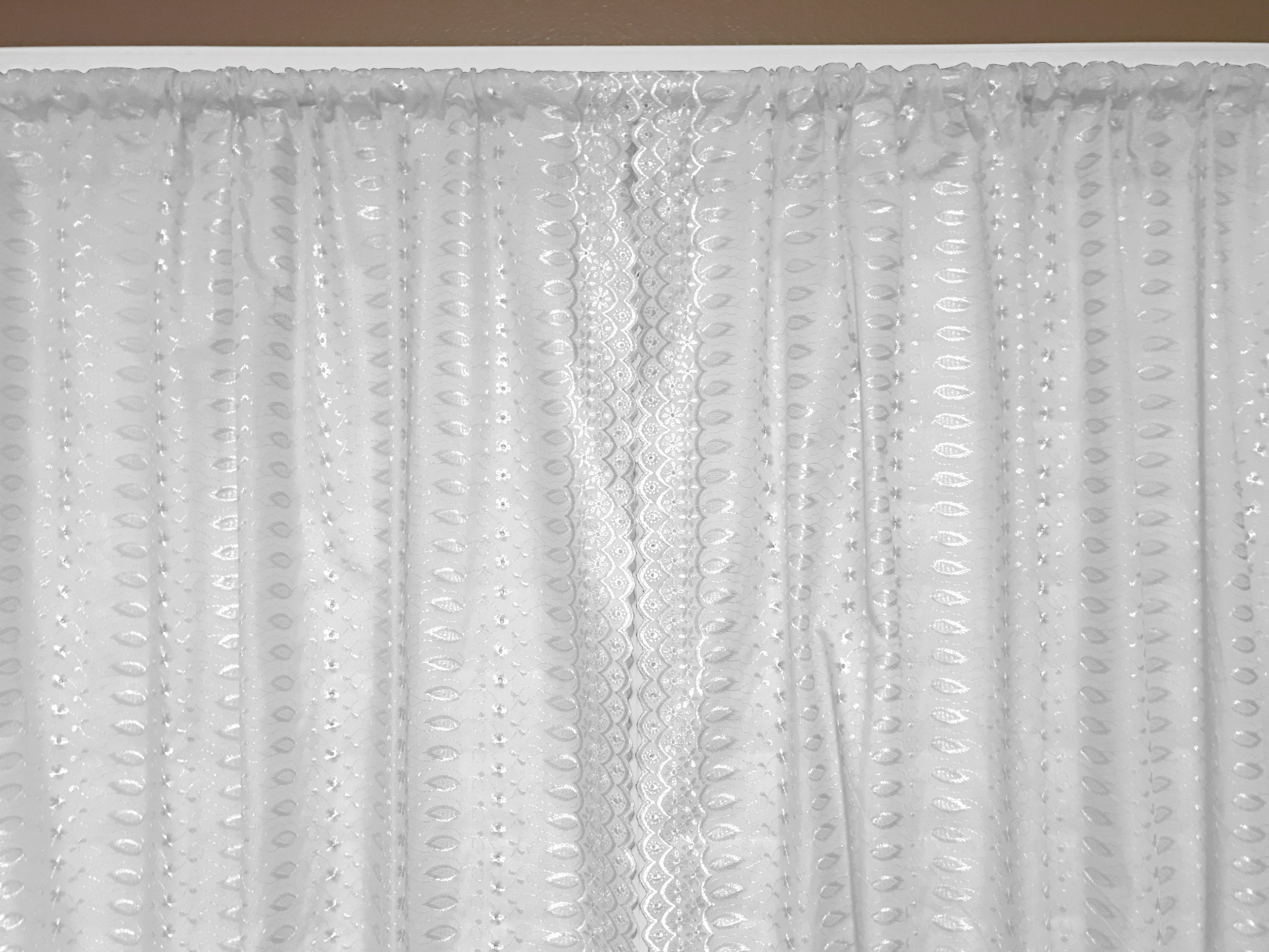 cotton eyelet window curtains scalloped sides 2 piece set 42 wide panels white