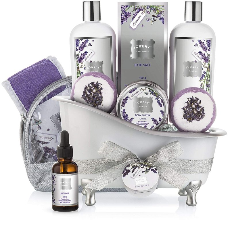 Bath Gift Basket Set for Women: Relaxing at Home Spa Kit Scented with  Lavender and Jasmine - Includes Large Bath Bombs, Salts, Shower Gel, Body  Butter Lotion, Bath Oil, Bubble Bath, Loofah