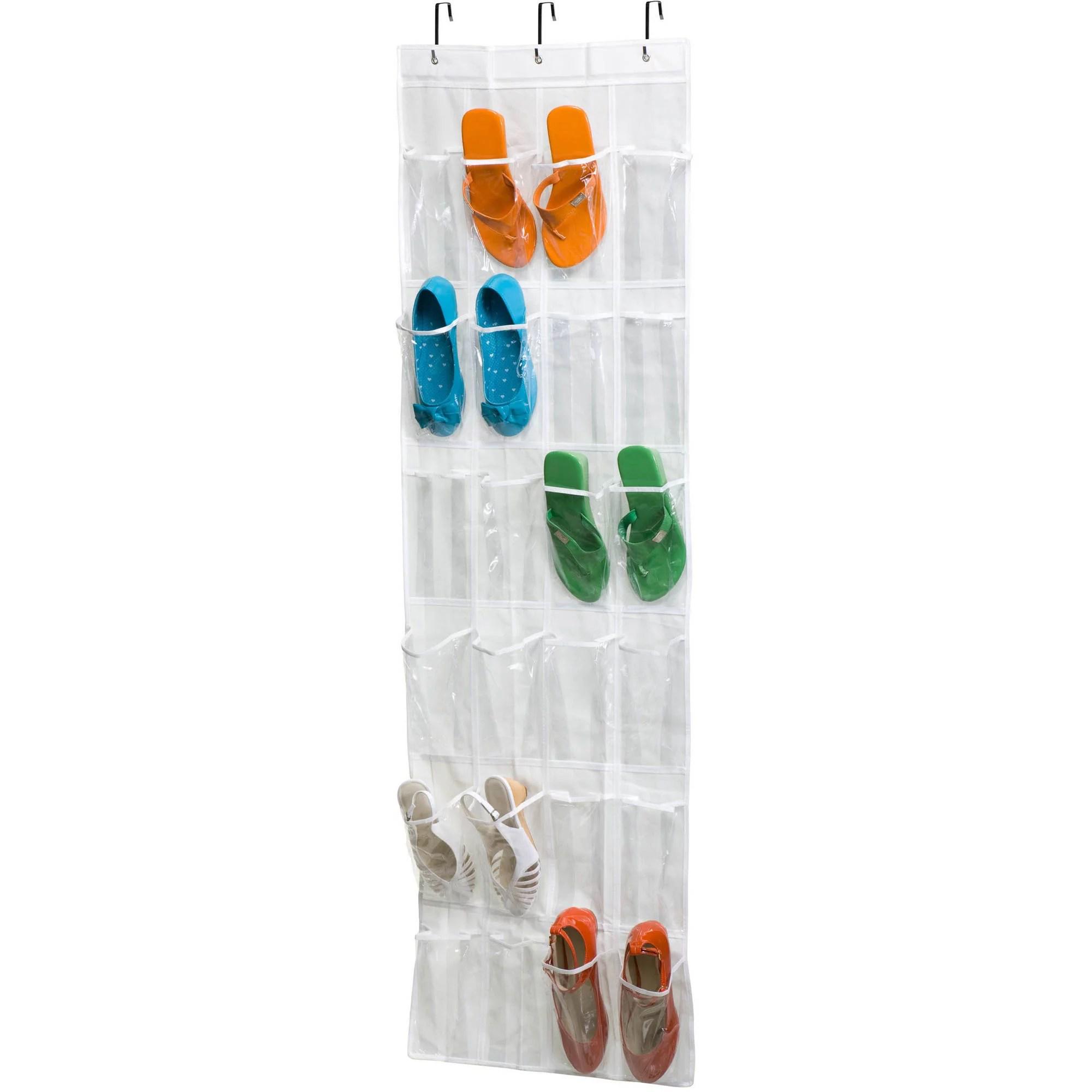 honey can do 24 pocket over the door shoe rack white walmart com