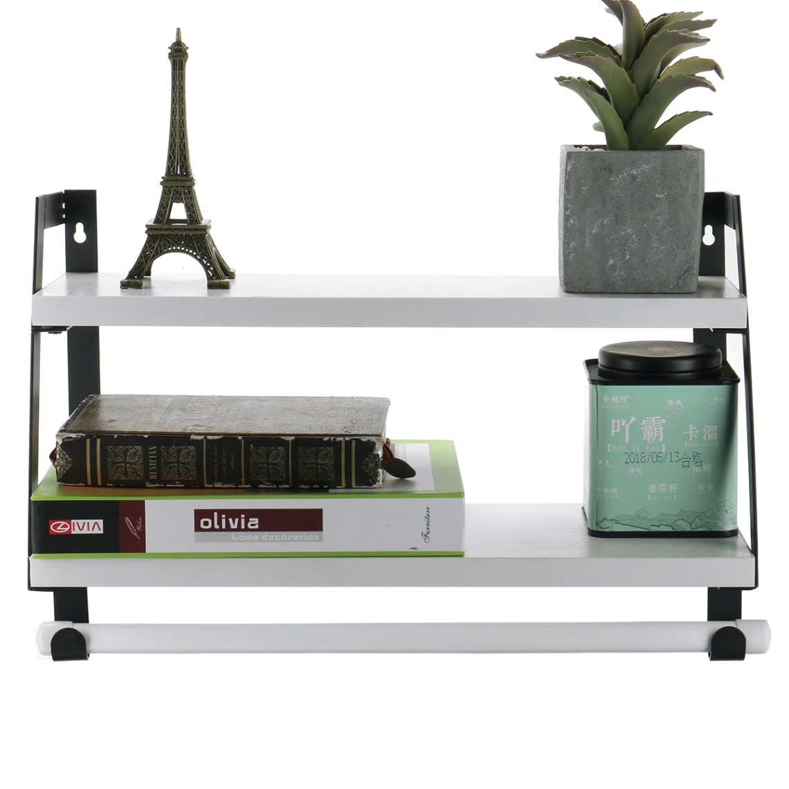 2-Tier Rustic Floating Wall Shelves for Bedroom, Kitchen ...