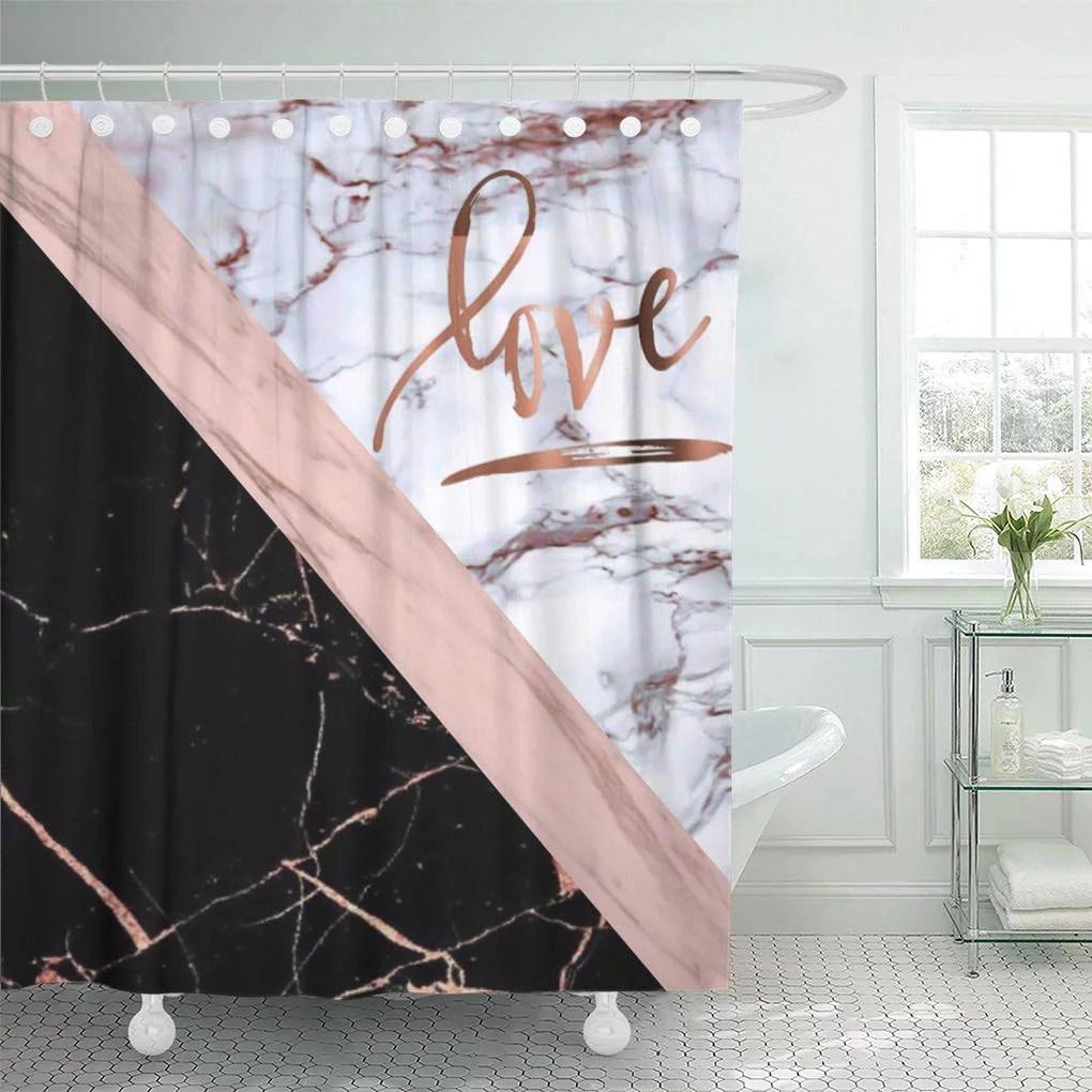 suttom pink white elegant rose marble love gold black stripes shower curtain 60x72 inch