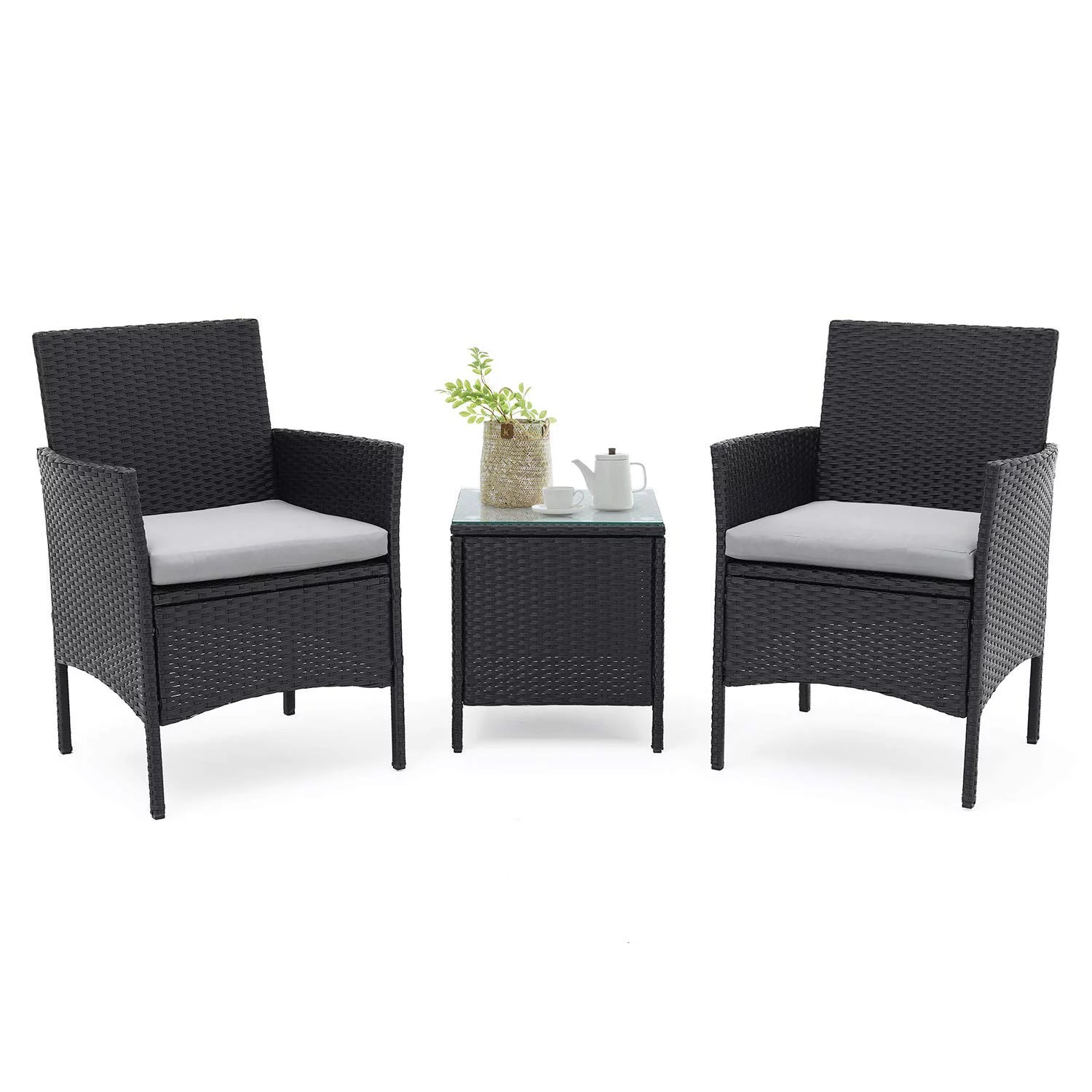 suncrown 3 piece patio furniture outdoor bistro set 2 wicker chairs with glass top table all weather black wicker and thick cushions garden backyard
